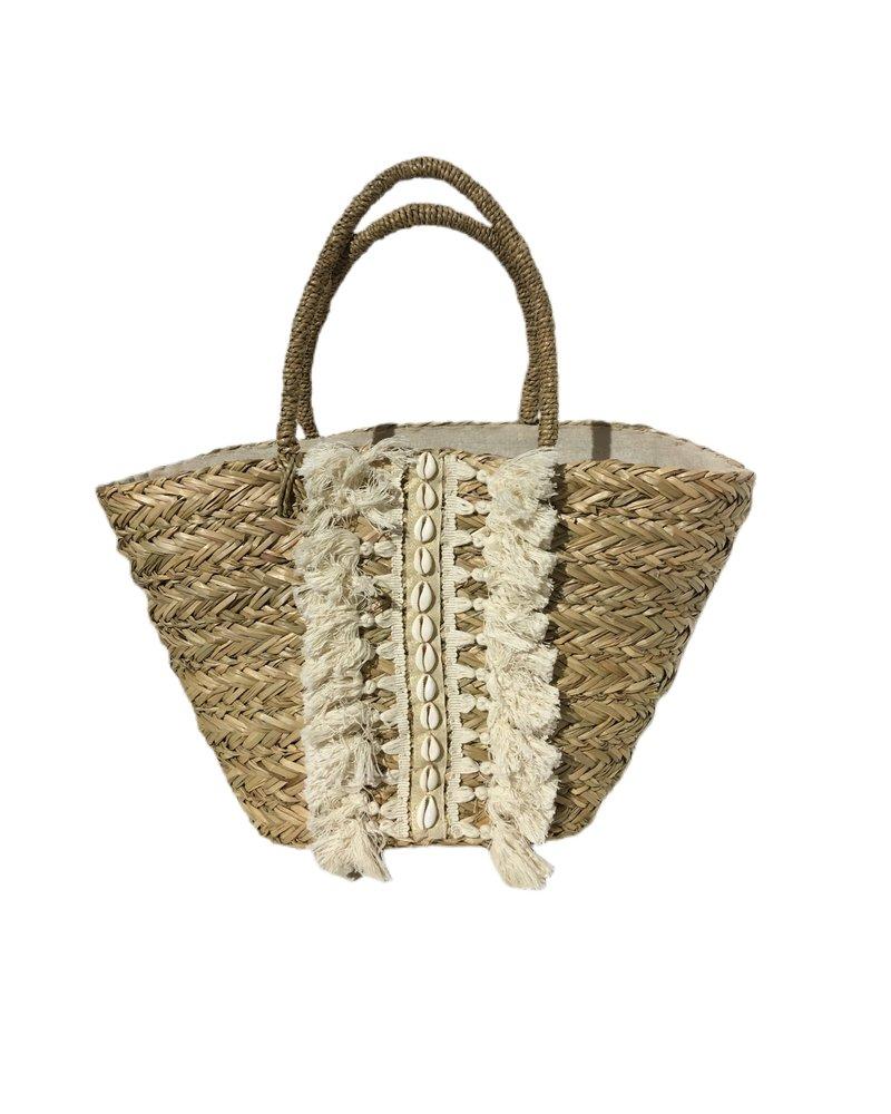 Ibiza Shell Beach Bag - Beige / White