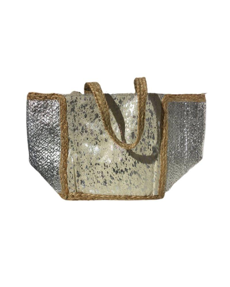 Ibiza Beach Bag - Beige / Silver
