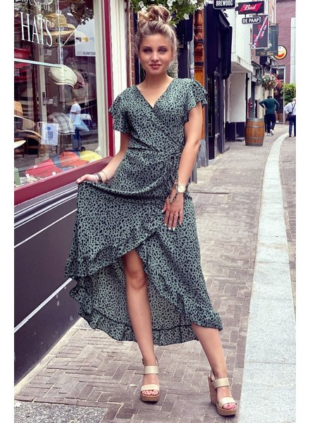 Spanish  Cheetah Dress - Army Green / Black