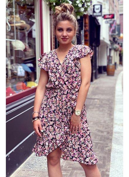 Fenne Short Rose Dress - Black