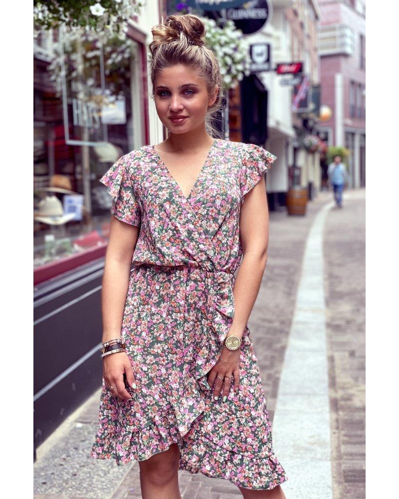Fenne Short Little Flower Dress - Army Green