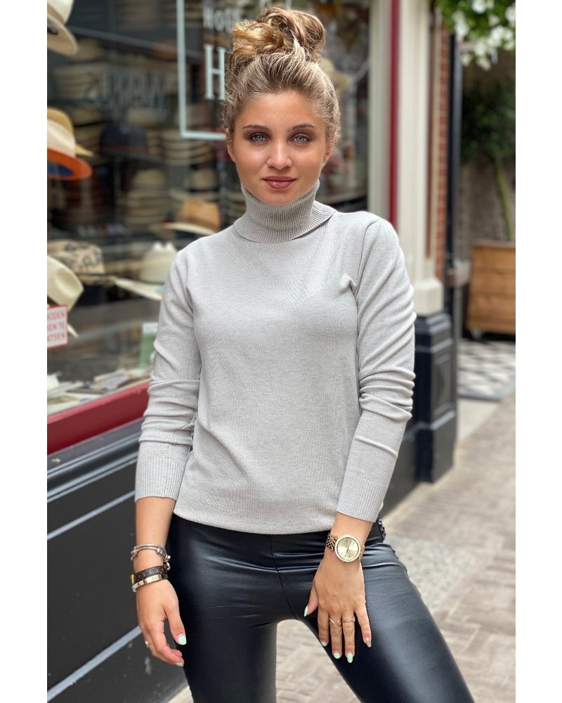 Fabulous Col Sweater - Light Grey