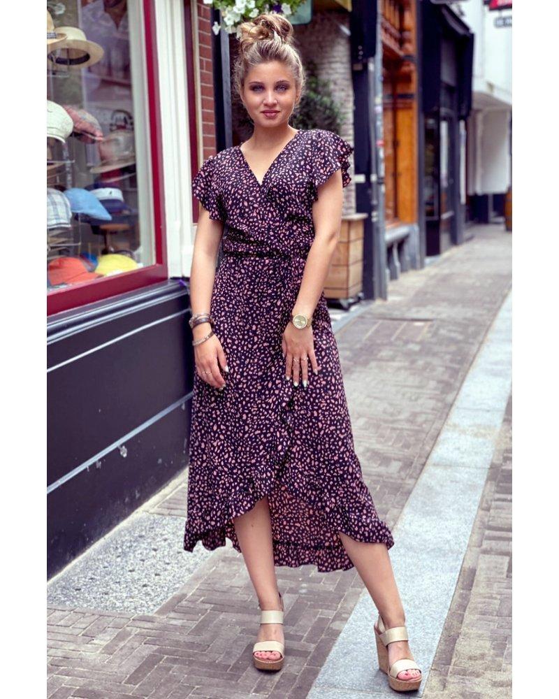 Spanish  Cheetah Dress - Black / Pink