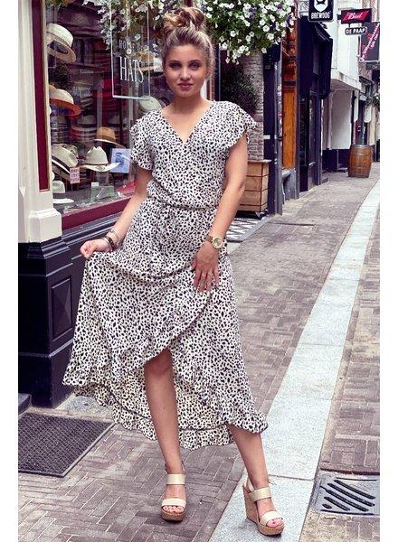 Spanish  Cheetah Dress - White / Black