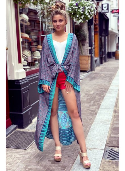 Indian Summer Kimono - Brown / Blue / Red
