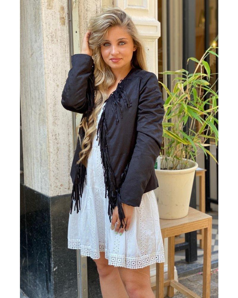 Suede Fringe Jacket with Tie - Black/Gold