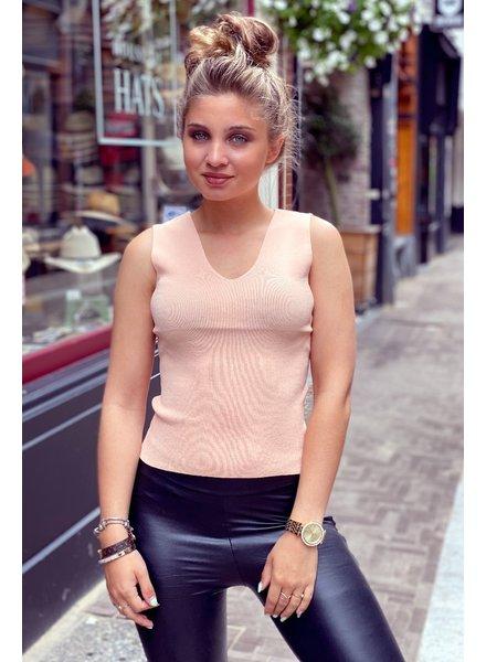 Julia V Neck Top - Light Pink