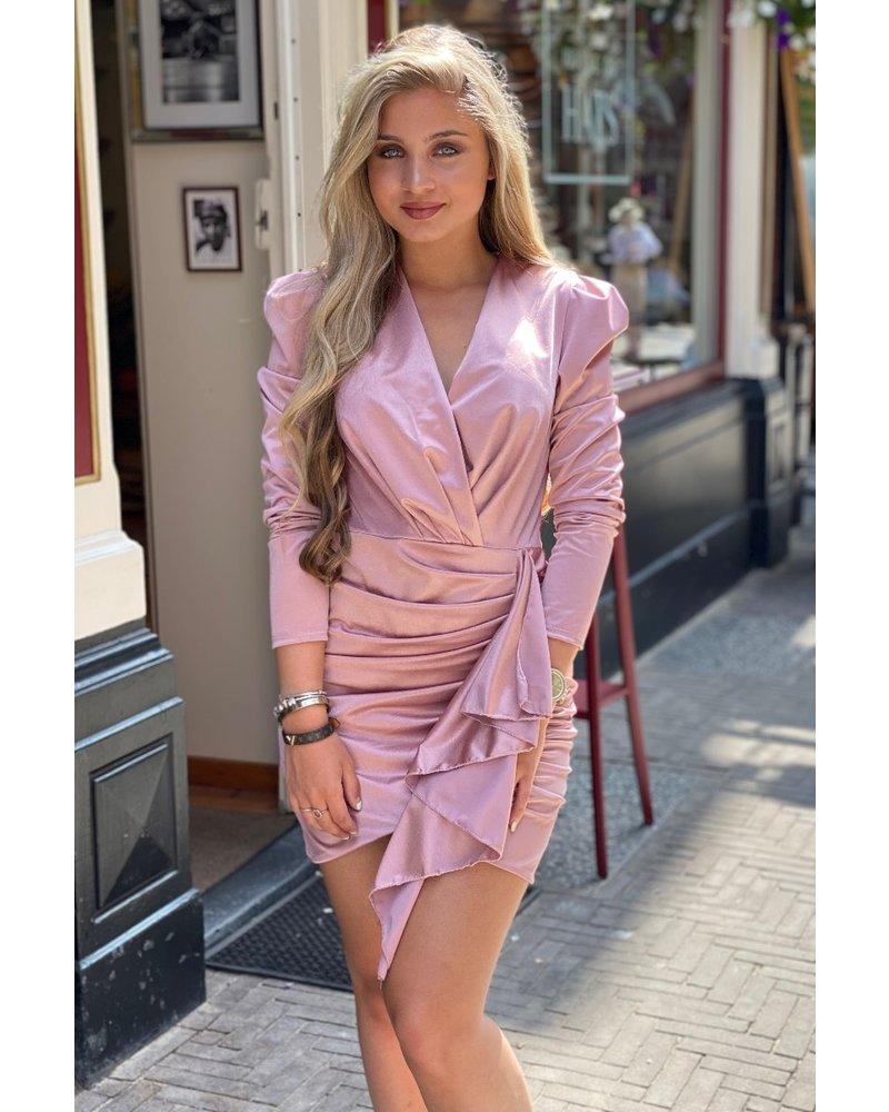 Satin V Neck Dress - Old Pink