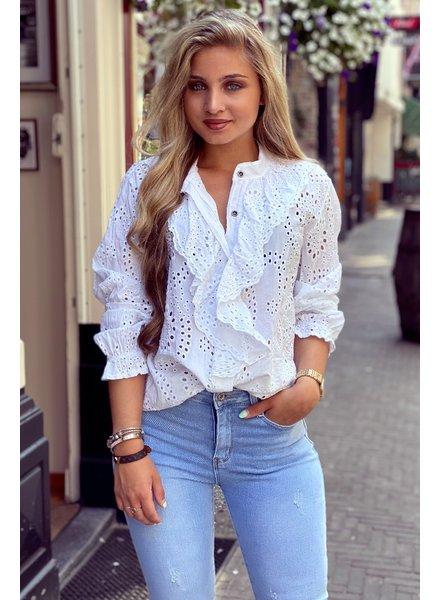 Hannah Broderie Blouse - White