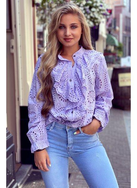 Hannah Broderie Blouse - Lilac