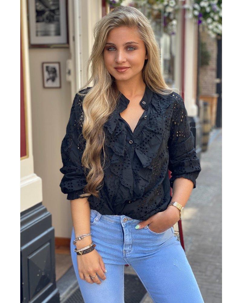 Hannah Broderie Blouse - Black
