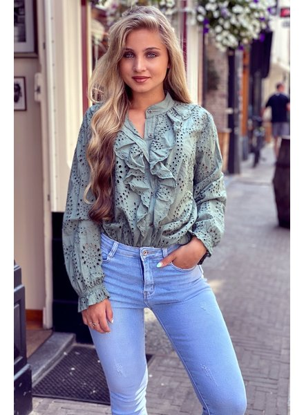 Hannah Broderie Blouse - Army Green
