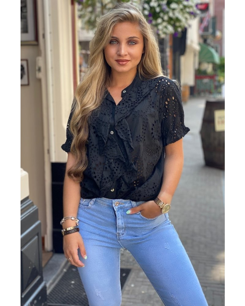 Hannah Short Sleeve Broderie Blouse - Black
