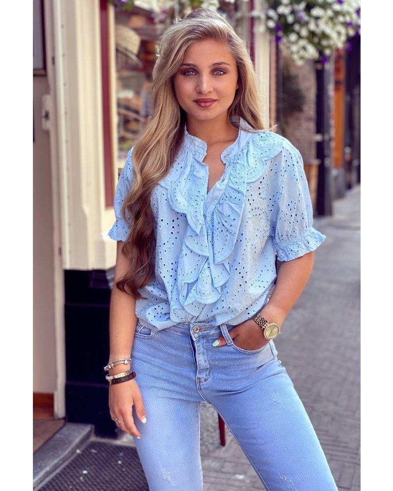 Hannah Short Sleeve Broderie Blouse - Light Blue