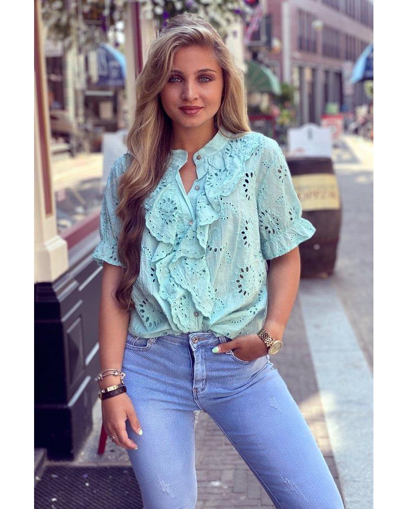 Hannah Short Sleeve Broderie Blouse - Mint