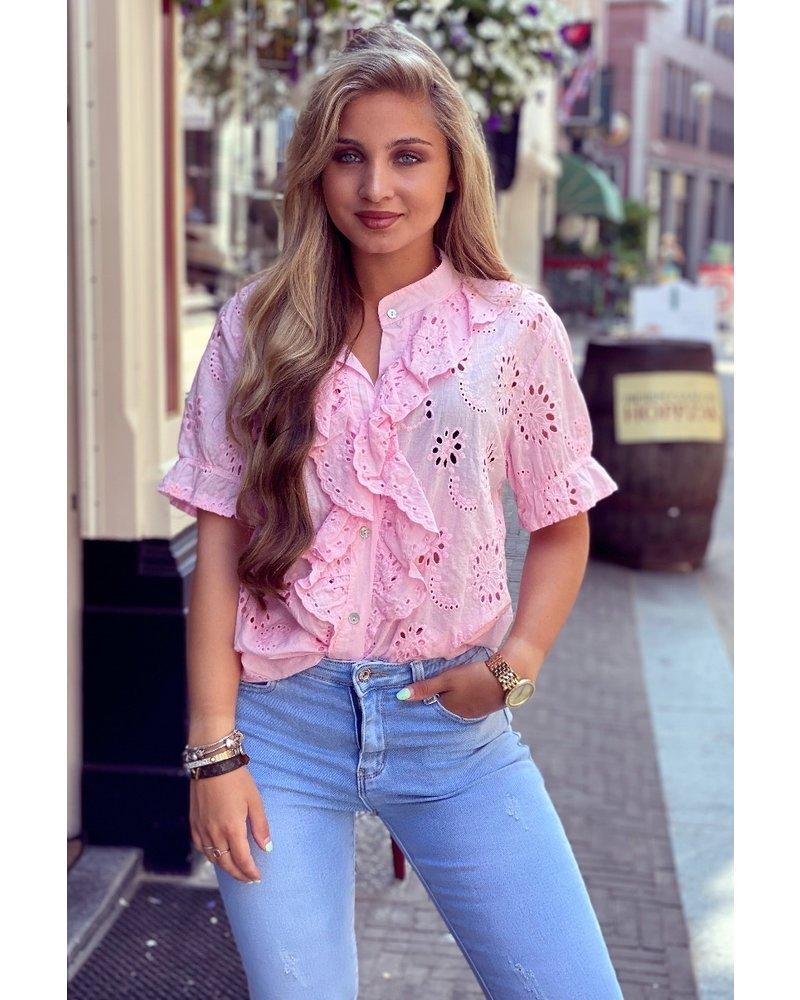 Hannah Short Sleeve Broderie Blouse - Light Pink