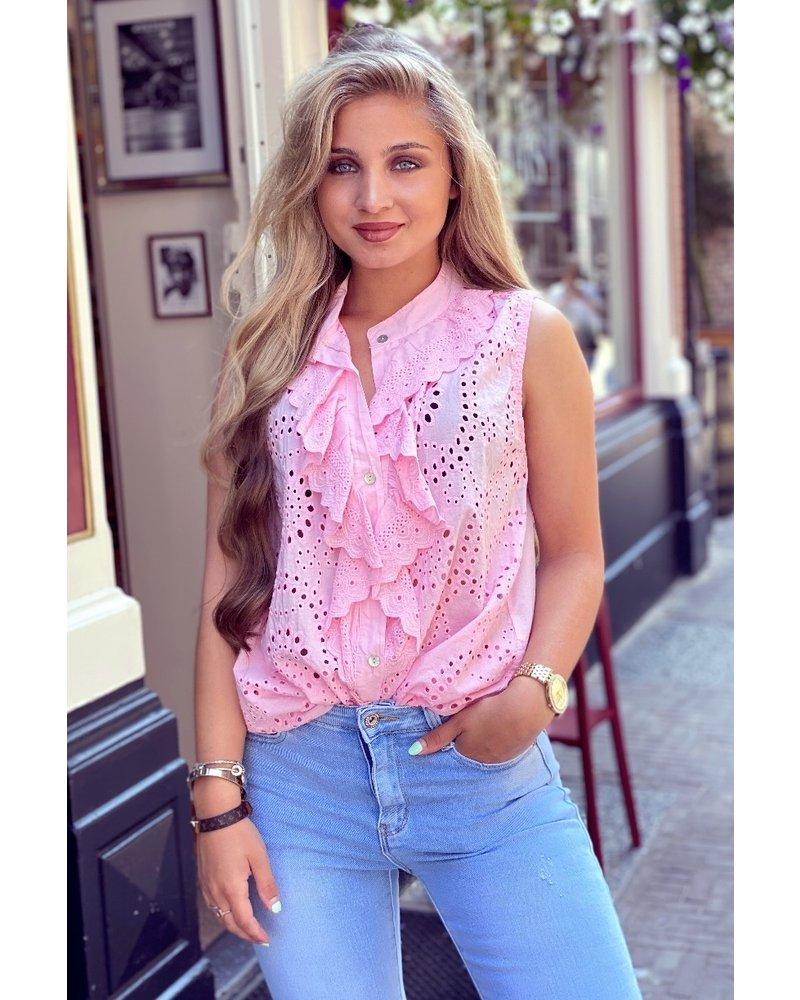 Hannah Broderie Top - Light Pink