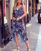 Robin Ruffle Dress - Navy Leaves