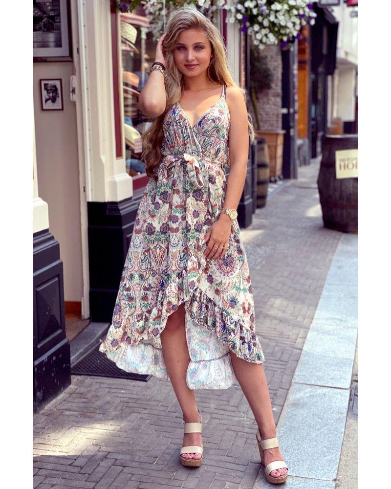 Robin Ruffle Dress - Paisley Beige