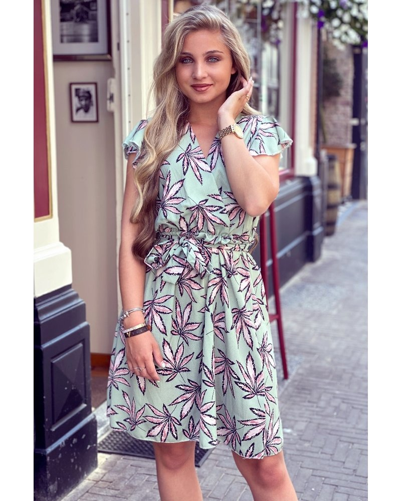 Summer Leaves Dress - Light Green/Light Pink