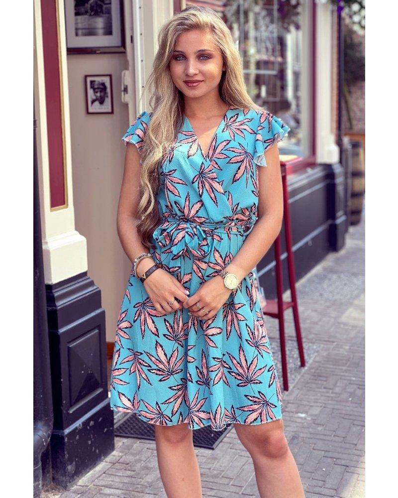 Summer Leaves Dress - Turquoise/Orange