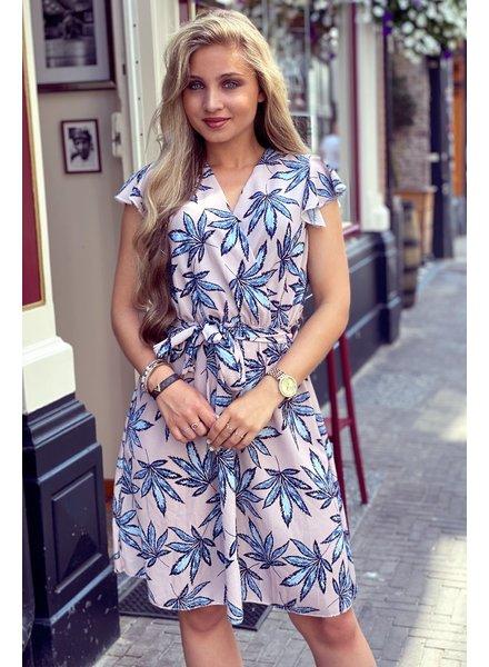 Summer Leaves Dress - Light Pink/Light Blue