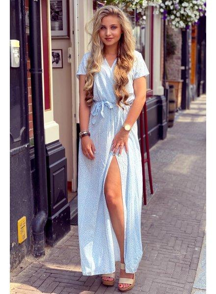 Rihanna Small Leopard Dress - Light Blue/White