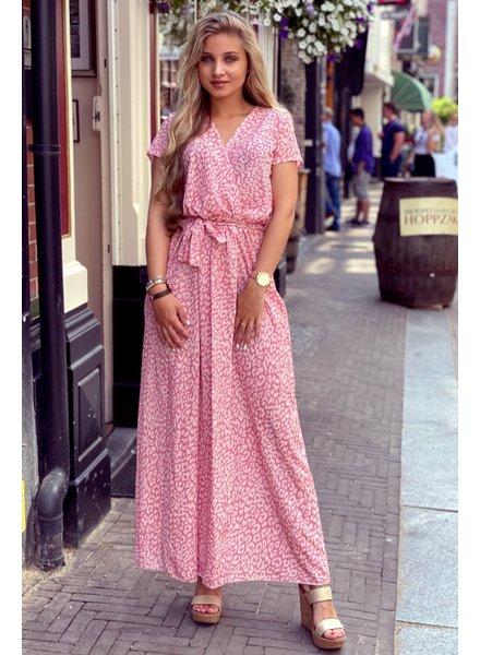 Rihanna Leopard Dress - Light Pink/Beige