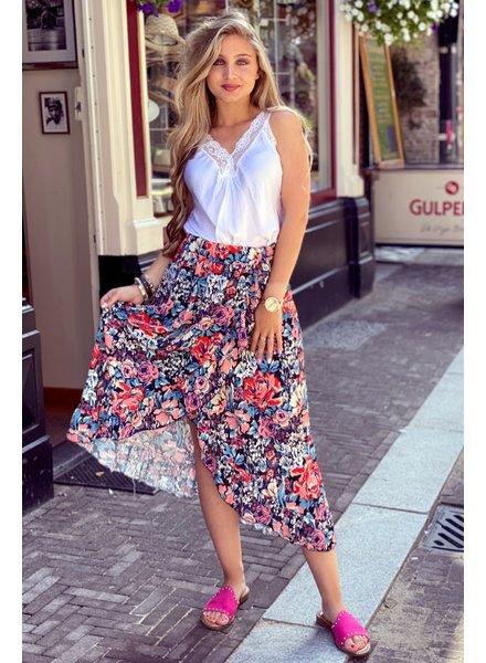 Ruffle Midi Skirt - Big Flowers