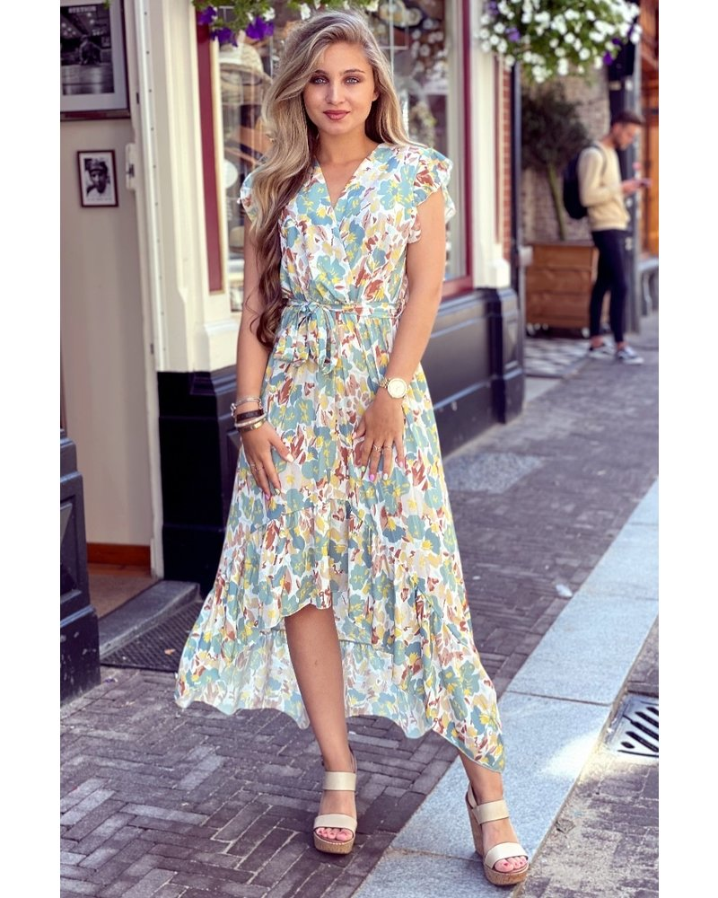 Pastel Flower Dress - Mint / Yellow / Brown