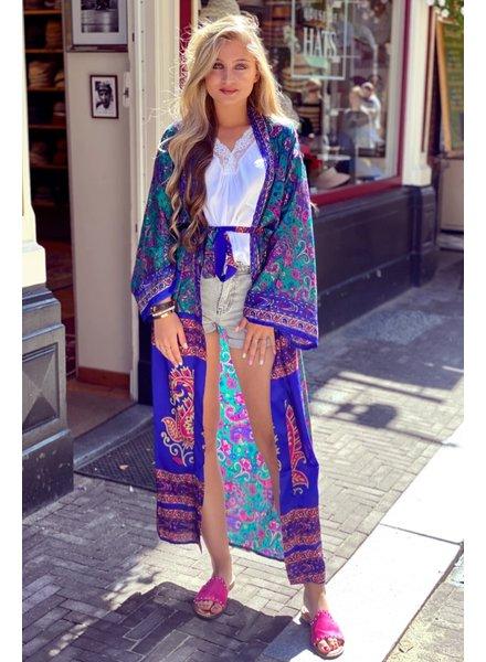 Indian Summer Kimono - Green / Kobalt / Fuchsia