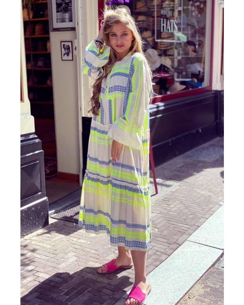 Noor Long Aztec Dress - Yellow / Denim Blue