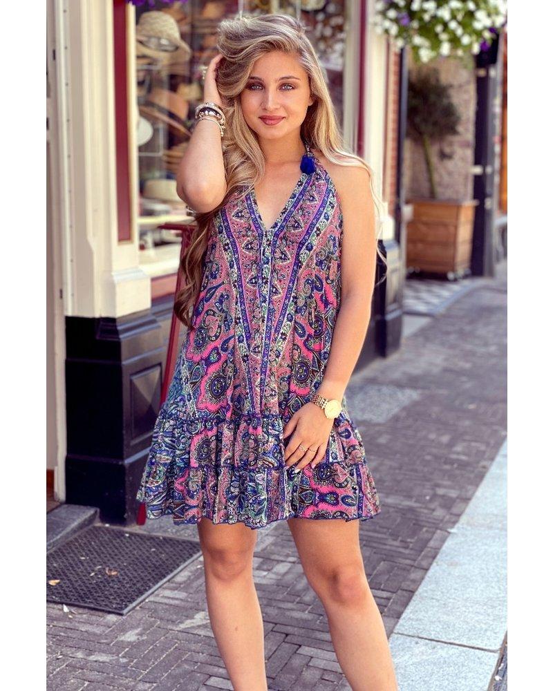 Short Ibiza Dress - Kobalt / Pink / Dress