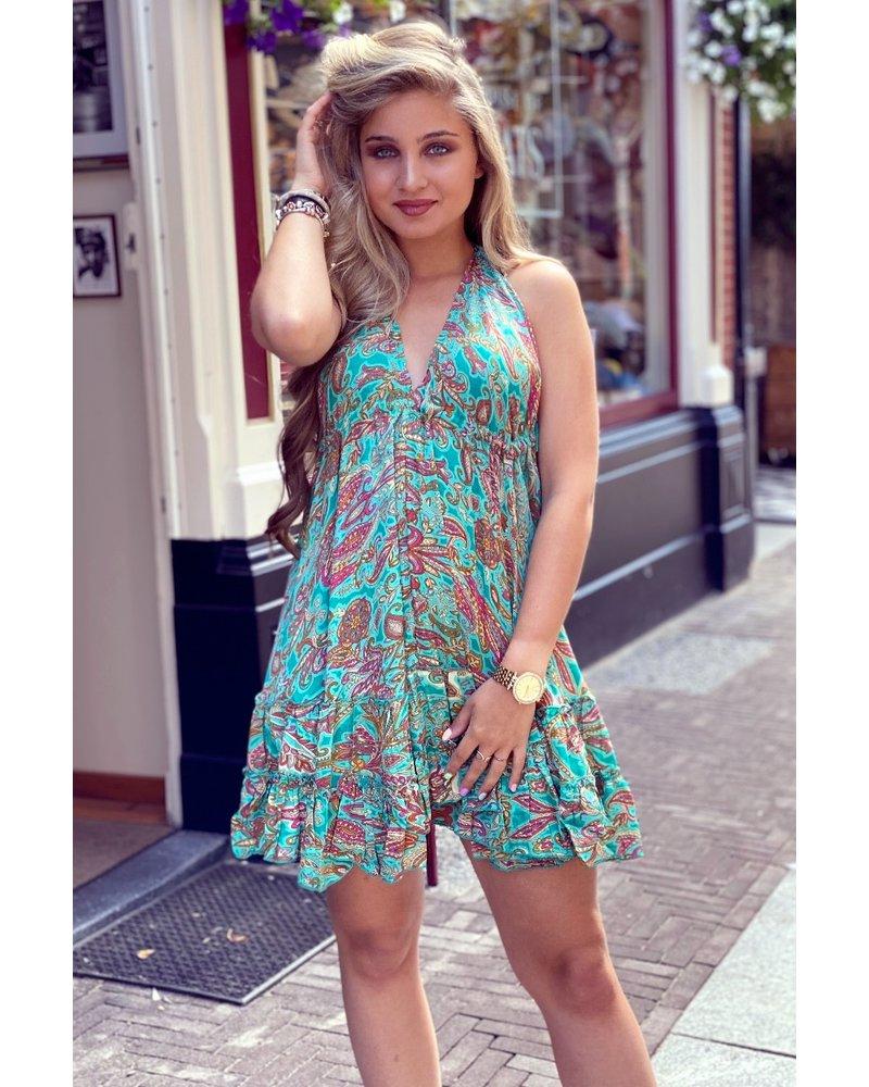 Short Ibiza Dress - Turquoise / Pink / Orange