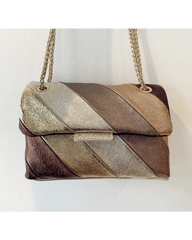 Metallic striped bag - Brown/Gold