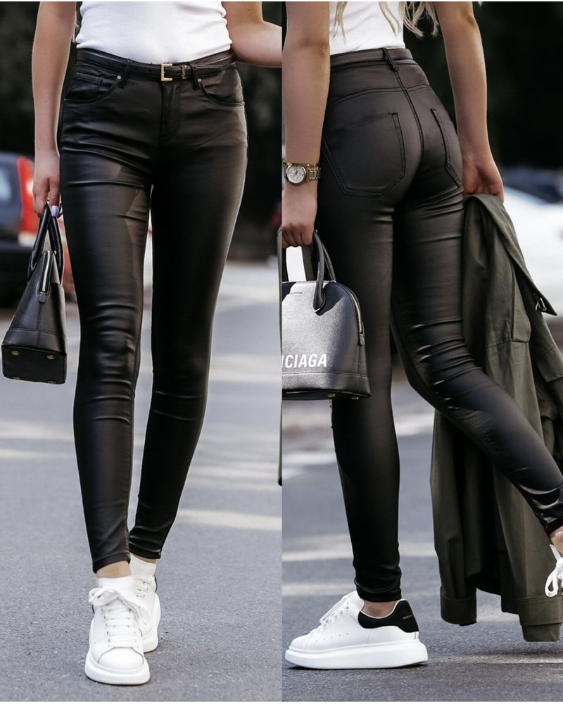 Musthave Leather Look Pants - Black