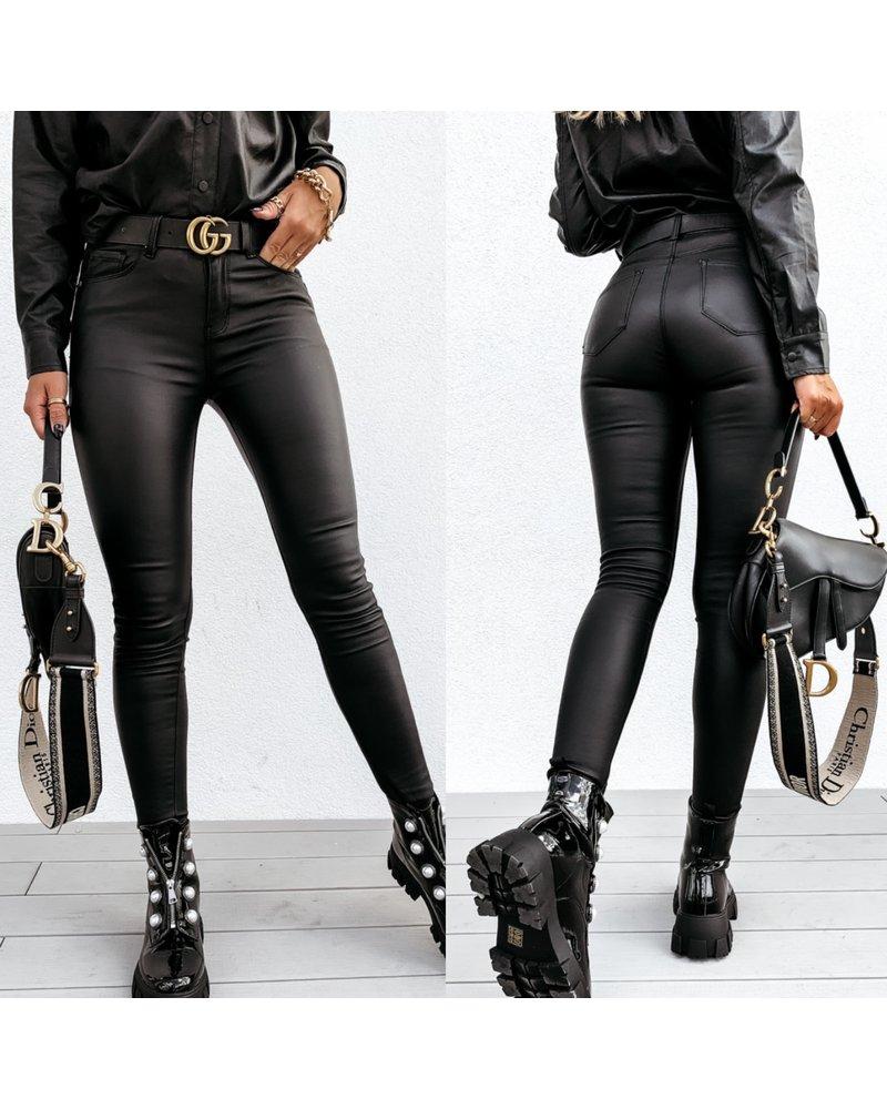 Stretch Leather Look Legging - Black