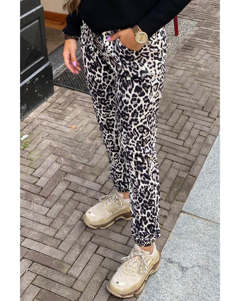 Brooke Leopard Pants - Grey