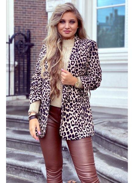 Leopard Blazer - Brown / Black