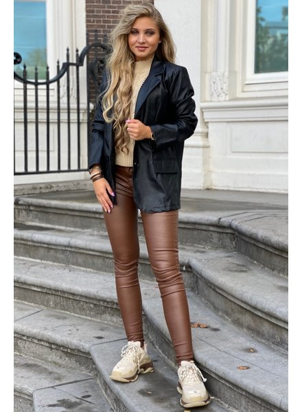 Leather Blazer - Black