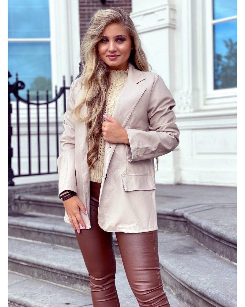 Leather Blazer - Beige