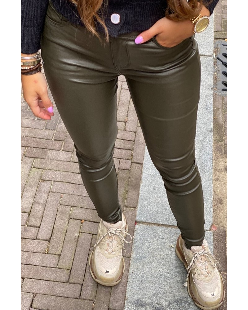 Musthave Leather Look Pants  - Army Green