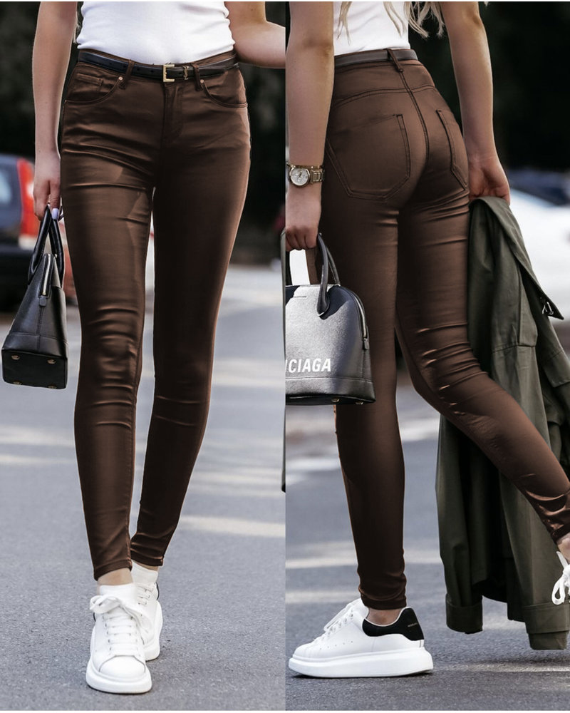 Musthave Leather Look Pants  - Brown