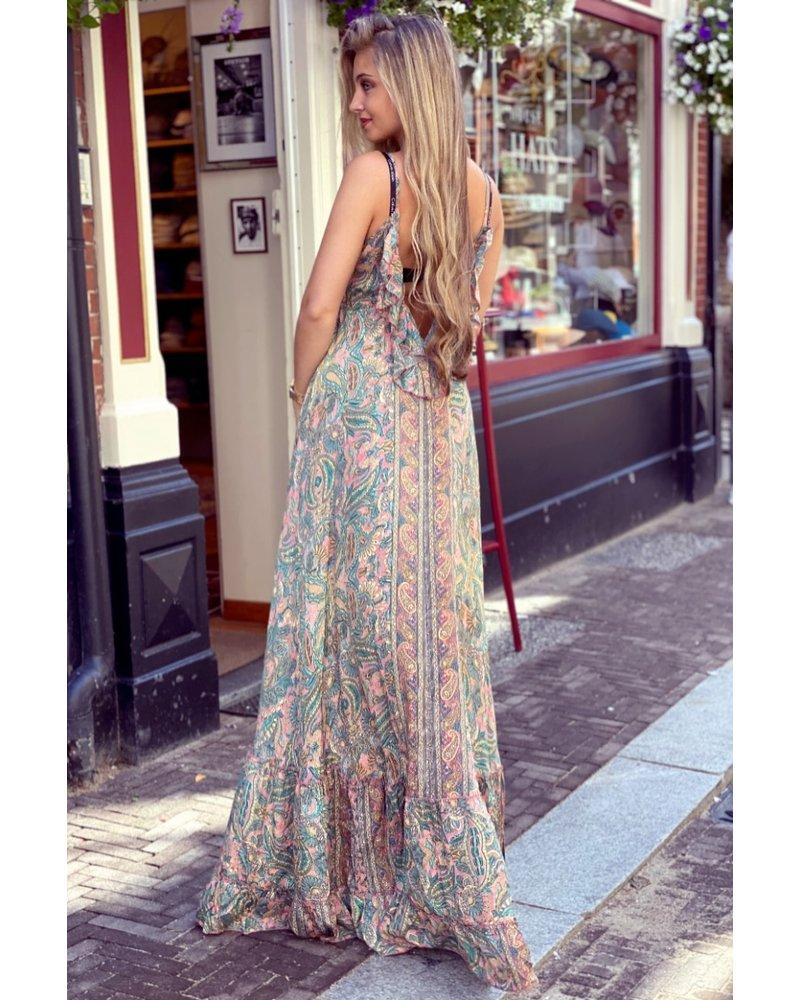 Chayenne Maxi Dress - Pink / Turquoise / Beige