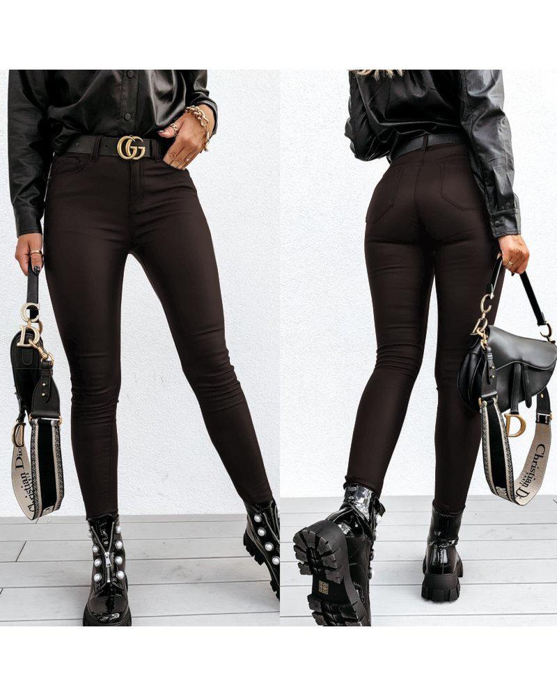 Stretch Leather Look Legging -  Dark Brown