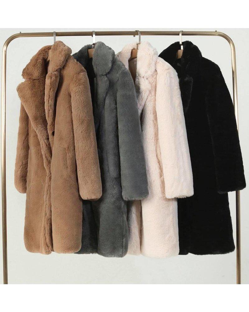 Fabienne Fake Fur Coat - Camel