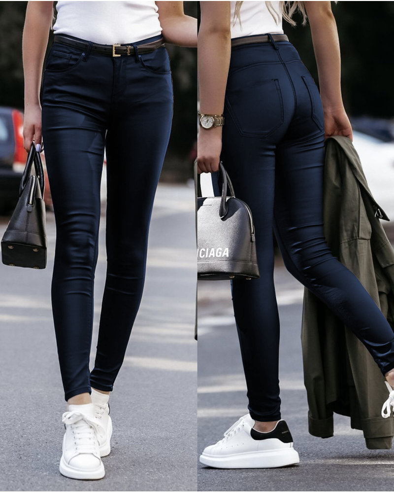 Musthave Leather Look Pants - Navy