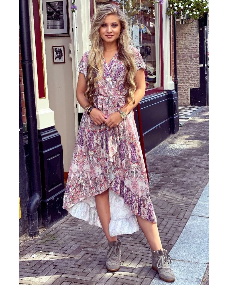 Fallon Paisley Ruffle Dress - Beige / Purple / Pink