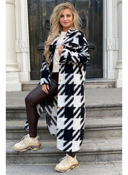Amy Houndstooth Coat - Black/White