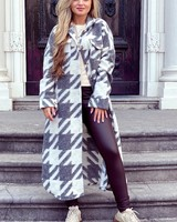 Amy Houndstooth Coat - Grey/White